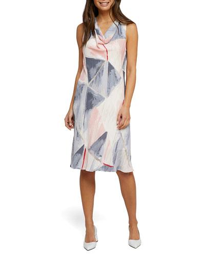 Sail Away Cowl-Neck Sleeveless Dress
