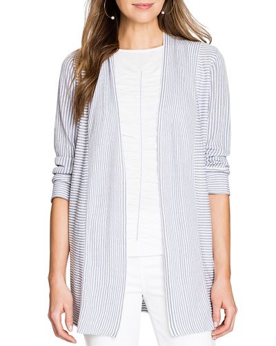 Riptide Striped Open-Front Cardigan