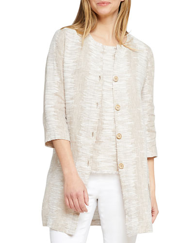 Sand Ripple Button-Front 3/4-Sleeve Jacket