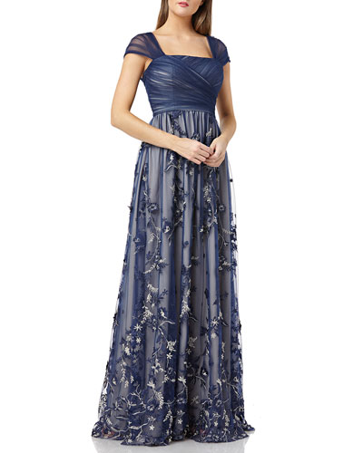 Cap-Sleeve Draped-Bodice Tulle Gown w/ 3D Embroidered Novelty Skirt