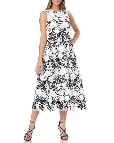 Sleeveless Embroidered Lace Fit-&-Flare Midi Dress