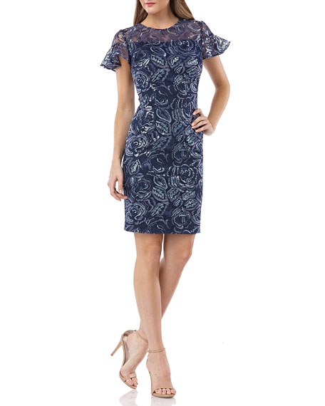 Carmen Marc Valvo Infusion Embroidered Ruffle-Sleeve Cocktail Dress