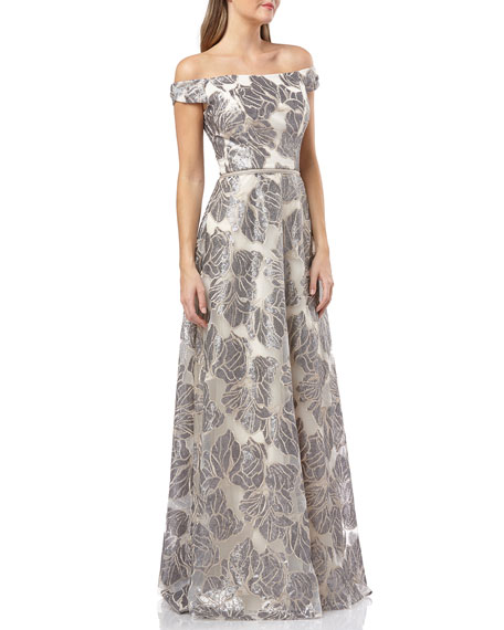 Carmen Marc Valvo Infusion Off-the-Shoulder Sequined Organza Ball Gown