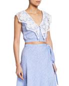Miguelina Rosalie Sleeveless Linen Crop Top w/ Lace