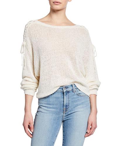 Rhetta Lace-Up Shoulder Sweater