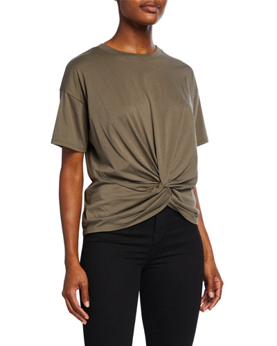 Kumie Twist-Front Short-Sleeve Cotton Top