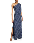 Halston Heritage Striped One-Shoulder Asymmetric-Sleeve Gown