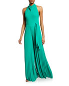 Halston Heritage High Cowl-Neck Flowy-Leg Sleeveless Jumpsuit