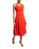 Halston Heritage Scoop-Neck Sleeveless Fit-&-Flare Midi Dress