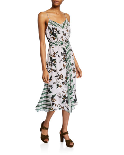 Frieda Sleeveless Mixed-Print Dress