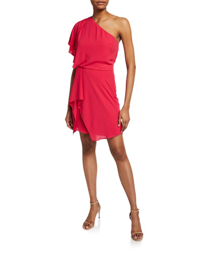 Flowy One-Shoulder Mini Dress with Draped Skirt