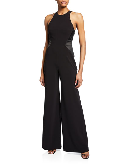 Halston Sleeveless Halter-Neck Jumpsuit with Strap Detail
