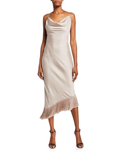 Clara Cowl-Neck Backless Fringe Hem Midi Dress