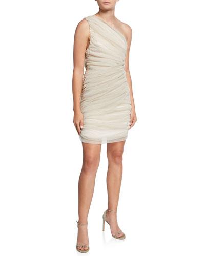 Vivienne One-Shoulder Shirred Mini Dress