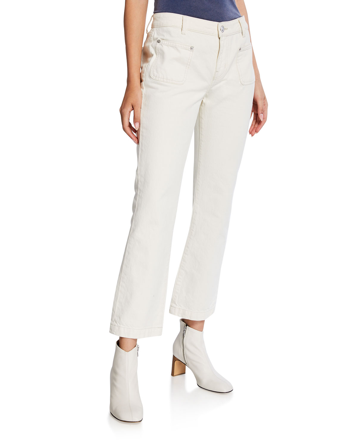 Current Elliott Jeans THE CROPPED BOOT-CUT PATCH-POCKET JEANS