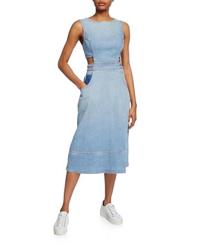 The Braided Nightfall Sleeveless Denim Cutout Dress