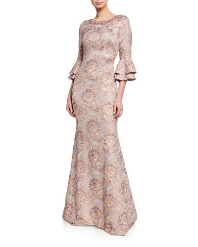 Beaded Bateau-Neck Tiered Bell-Sleeve Tissue Cloque Trumpet Gown