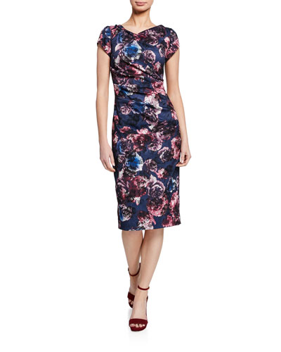 Floral-Print Cap-Sleeve Ruched Sheath Dress