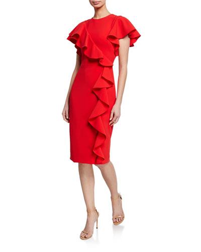Short-Sleeve Asymmetric Ruffle Cocktail Dress