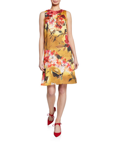 Floral-Print Beaded-Neck Sleeveless A-Line Dress