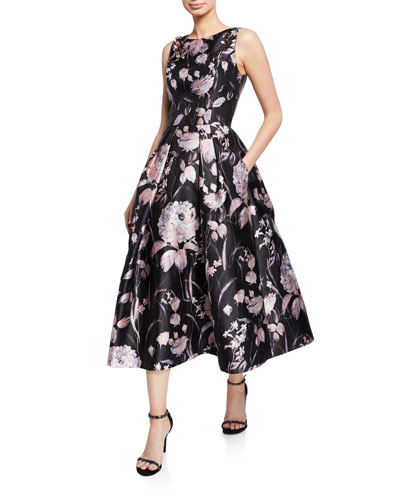 Floral-Print High-Neck Sleeveless Midi Dress w/ Pleated Skirt