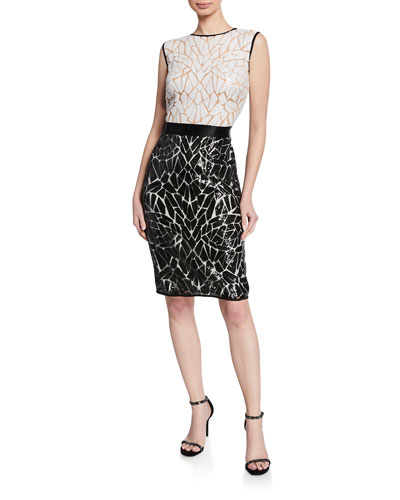 Colorblock Sequin High-Neck Sleeveless Cocktail Dress
