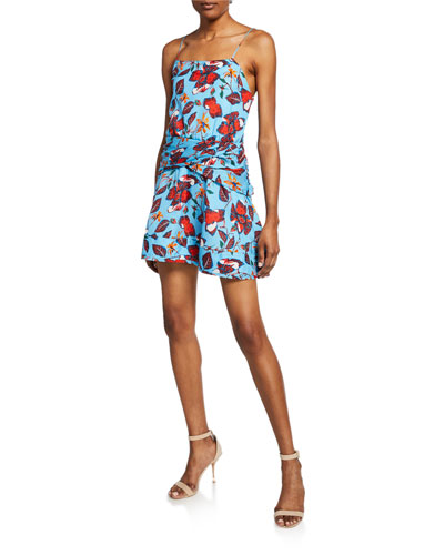Floral-Print Mini Cami Flounce Dress with Twist-Waist Detail