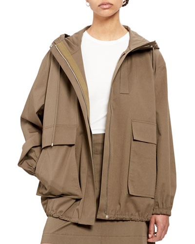 Utility Zip-Front Cotton Anorak Jacket