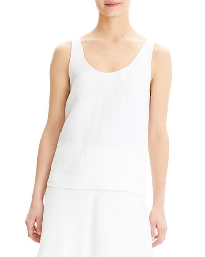 Scoop-Neck Herring Linen Tank Top