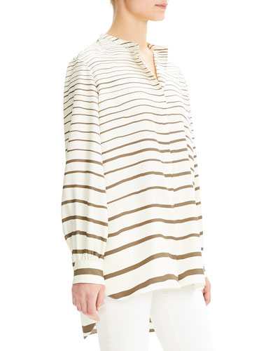 Painted Stripe Long-Sleeve Silk Popover Tunic