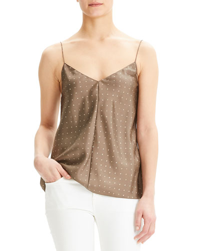 Dot Overlay V-Neck Silk Camisole