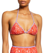 Diane von Furstenberg Moss Snake-Print Triangle Bikini Top