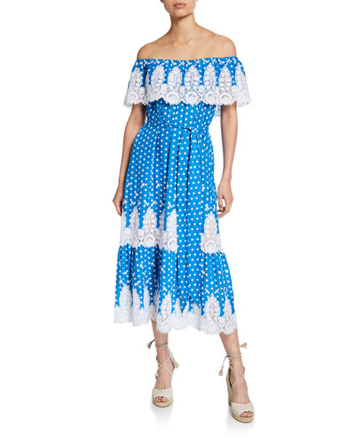 e19305f5e19f Quick Look. Miguelina · Liselle Dragonfly Embroidered Off-Shoulder Dress.  Available in Mediterranean Blu