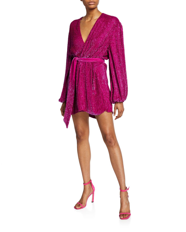 Retroféte Dresses Gabrielle Sequined Wrap Dress