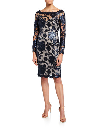 Sequin Lace Boat-Neck Long-Sleeve Cocktail Dress