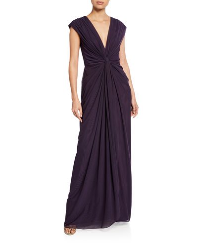V-Neck Sleeveless Ruched Mesh Gown