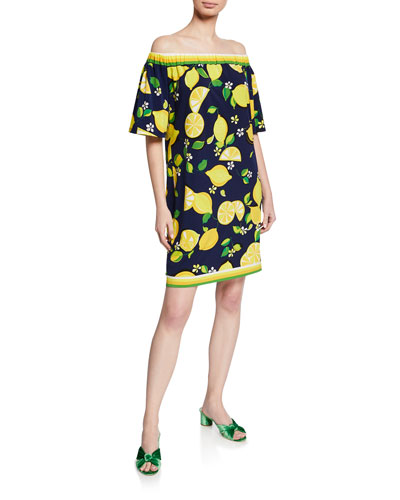 Kelso Lemon-Print Off-the-Shoulder Shift Dress