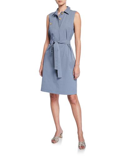 Padma Sleeveless Italian Cotton Bi-Stretch Shirtdress