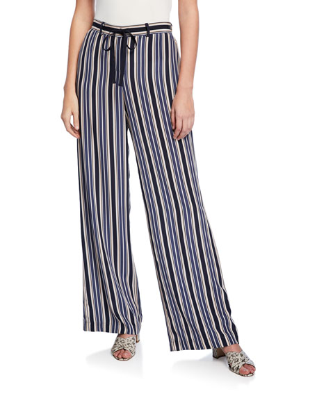 Lafayette 148 New York Columbus Painted Desert Stripe Wide-Leg Drawstring Pants