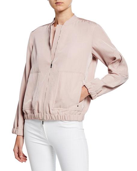Lafayette 148 New York Ziggy Canary Cloth Bomber Jacket