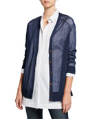 Lafayette 148 New York Button-Front Finespun Voile Raglan-Sleeve