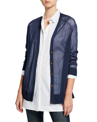 Button-Front Finespun Voile Raglan-Sleeve Cardigan