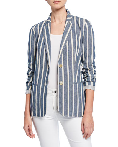 Briallen Sonoran-Striped Two-Button Cotton Blazer