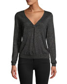 Milly Shimmer Twist Top Sweater