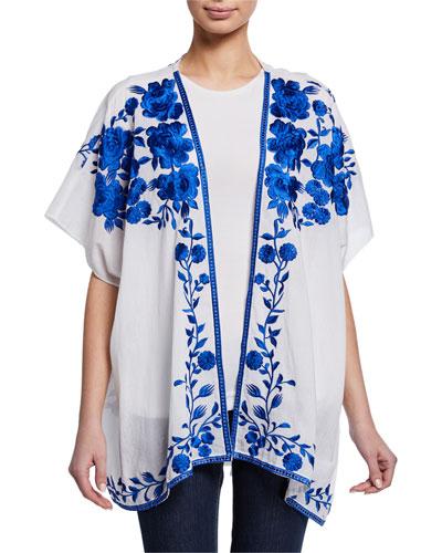 Noelle Floral Embroidered Half-Sleeve Jacket