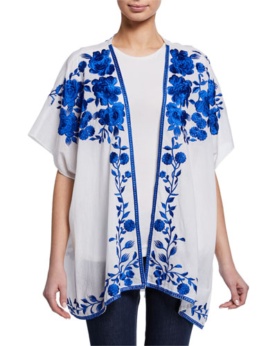 Plus Size Noelle Floral Embroidered Half-Sleeve Jacket