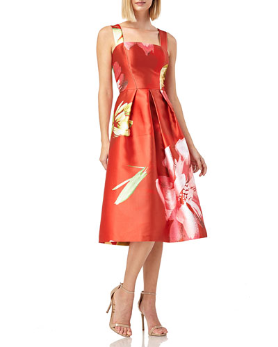 1992769a3ae1 Floral Print Sleeveless Pleated Dress | Neiman Marcus