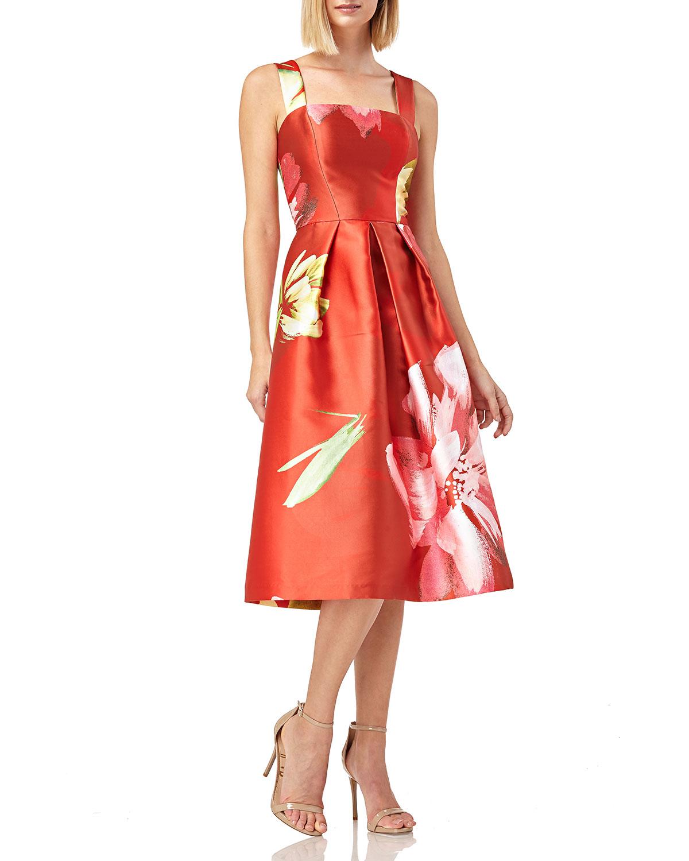 Kay Unger Dresses FLORAL-PRINT SLEEVELESS MIKADO DRESS W/ POCKETS