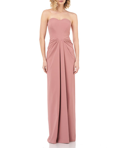 Strapless Sweetheart Draped Stretch-Crepe Column Gown
