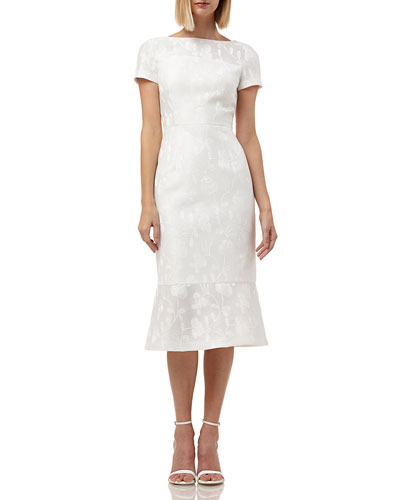 Boat-Neck Short-Sleeve Embroidered Lace Dress w/ Flounce Hem